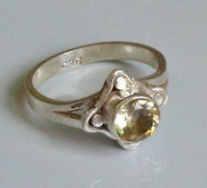 Sterling Silver Ethnic Asian Vintage Style Yellow Quartz Ring Size L 1/2 Gift