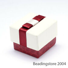 70pcs Cute Cuboid Cardboard Ring Boxes Bowknot Small Jewelry Box Gift 50x50x30mm