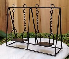 Miniature Dollhouse FAIRY GARDEN Furniture ~ Black Metal Swing Set ~ NEW