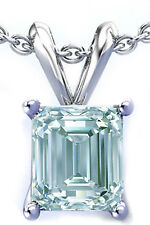 1.32ct VS2/ICE BLUE WHITE EMERALD CUT MOISANITE DIAMOND.925 SILVER PENDANT