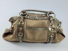 Kathy Van Zeeland Gold Studded Hardware Snake Skin Purse Shoulder Handbag