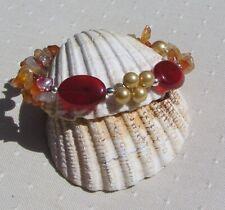 """Orange Carnelian & Golden Shell Pearl Gemstone Beaded Bracelet """"Chana"""""""