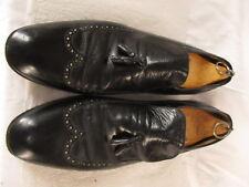 Salvatore Ferragamo Mens Black Longwing Tassel Loafers 12B Italy Made