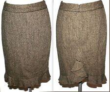 Club Monaco Brown Wool Silk Ruffle Fishtail Pencil Skirt Sz 0
