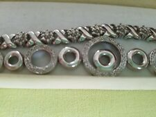 LOT OF 2 BEAUTIFUL-  sterling silver and diamond tennis bracelets
