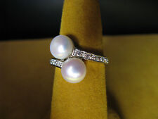PEARL HONORA RING BYPASS SIZE 7 WHITE SILVER SWAROVSKI CRYSTALS Christmas Gift