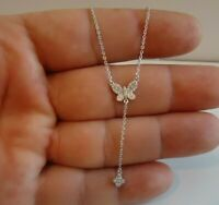 BUTTERFLY W/ HANGING CLOVER NECKLACE W/ LAB DIAMONDS / 925 STERLING SILVER/18''