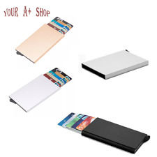 Men Women Aluminum RFID Blocking Credit Card Case Holder Metal Wallet W/ Pop-up