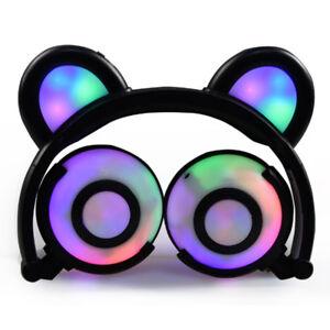 Bear Ear Headphones with LED Light Foldable Headset USB Charge Earpiece Earphone