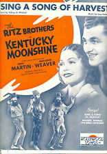 "Kentucky Moonshine SheetMusic ""Sing A Song Of Harvest"" Ritz Brothers Tony Martin"