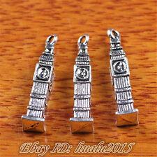 20 pieces 25*5mm Charms Clock Tower Pendant Tibetan Silver Fit Bracelet H7220