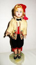 """8"""" Vintage Hard Plastic German Doll in Traditional Costume on Stand"""