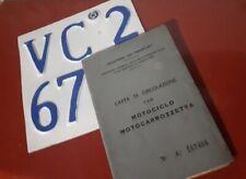 Vespa 125 Faro Basso ANNO 1954 VM2T documenti epoca vintage Libretto E Targa