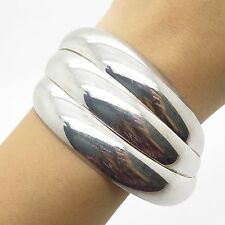 Italy 925 Sterling Silver Wide Cuff Bracelet