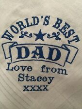 Personalised Embroidered DAD FATHER hankie, Christmas Xmas birthday present gift