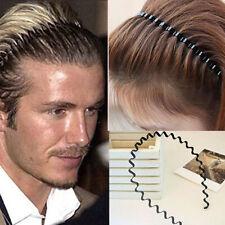 Fashion Men Women Sports Wave Hair Band Unisex Metal Black Curve Hoop Headband