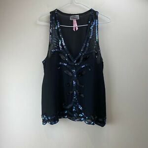 Lipsy London Womens Black Sequin Floral Sleeveless Sheer Blouse Tank Top Size 12