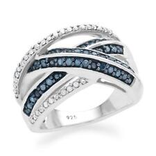 BLUE AND WHITE DIAMOND STERLING SILVER RING SIZE 7