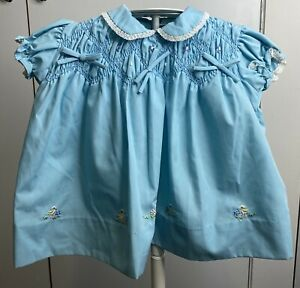Vintage Girls Size 0 Blue Dress Easter EUC Party Smocked Bunny Rabbit Duck