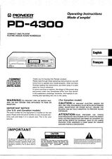 Pioneer PD-4300 CD Player Owners Manual