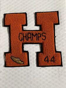 Vintage 1944 Letterman Varsity School Letter Patch H  Orange Champs