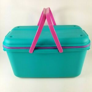 Eagle Craftstor Craft Sewing Tote Storage System Organizer w/ Tray Teal Pink USA
