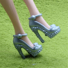 2pcsSilver Grey Shoes Summer High Heels Sandal Accessories For Barbie Doll GiLC