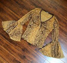 Vtg 90s Sheer Kimono Bat Wing Gathered Circle Ruched Chest Body Hug Crop Top M