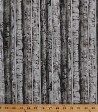 Cotton Birch Trees Nature Silver Metallic Landscape Fabric Print BTY D659.20