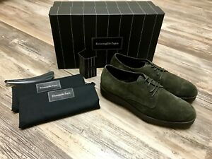 Ermenegildo Zegna Shoes Army Green Suede Shoes Size 7US 6UK 40EU WIDE MODEL