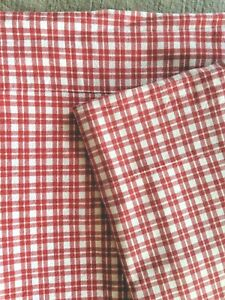 POTTERY BARN KIDS TWIN Red and White PLAID FLANNEL SHEET One Case