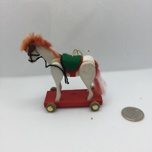 Vintage Wood Rolling Horse White Articulated Tree Ornament Holiday Decoration