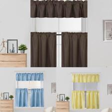 3Pc Set Window Dressing Kitchen Curtain Solid Lined Blackout Drape Treatment K4