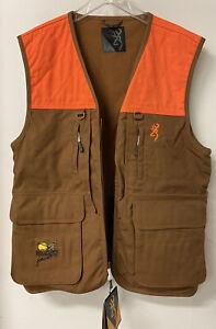 size LARGE , BROWNING Upland Pleasant Hunting Vest Blaze & Khaki