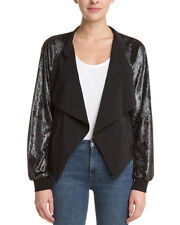 BCBG 'Draped Shimmer Jacket' Sz S - Dark Silver & Black Gorgeous & New