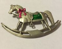 JJ VINTAGE CHRISTMAS ROCKING HORSE PEWTER BROOCH PIN
