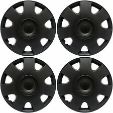 "Hub Caps 4 piece Set BLACK MATTE for 16"" Inch Wheel Covers Cap Cover"