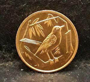 1972 Cayman Islands cent, Elizabeth II, Great Cayman Thrush, UNC, KM-1 (CN6)/N59