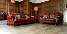 VICTORIAN STYLE CHESTNUT ANTIQUE TAN BROWN LEATHER SUITE 2 & 3 SEATER CLUB SOFAS