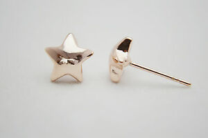 Shiny 14K/14ct Rose Gold PL Cute Small Star Stud Earrings Butterfly Back Gift UK