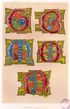 "Chromolithograph from ""Art of Illuminating -1860"" - BOLD FLORAL INITIALS, 1300'S"