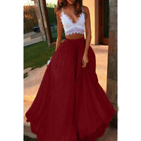 Women Maxi Skirt Chiffon Elegant Summer Pleated Retro Long Dress Elastic Waist S