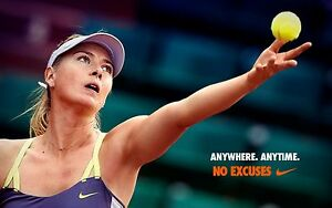 MARIA SHARAPOVA RARE NO EXCUSES WTA TOUR TENNIS POSTER WIMBLEDON 2015