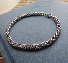 Bracciale da uomo in acciaio inox con catena braccialetto intrecciato argento a