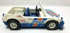 Vintage 1976 Geobra Playmobil White Orange Blue Spidan Toy Advertising Rally Car