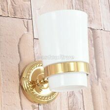 Gold Color Brass Wall Mounted Toothbrush Holder with Single Ceramic Cup eba592