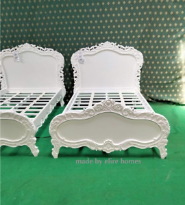 UK 4' Small Double Diamond White French baroque carved roses mahogany wood bed