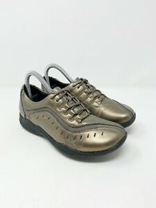 CLARKS 'Wave Wheel' Leather Sneaker Pewter Gold Bronze Womens Size 6.5
