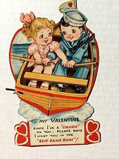 Vintage 1930-40s Honeycomb Valentine's Day Card w/ Sailor and Sweetie