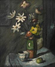 """Louis Mathieu Verdilhan. """"Bouquet de fleurs"""". Huile sur carton v688"""